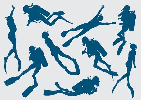 scuba diving: Stel silhouet van duiker en freediver Stock Illustratie