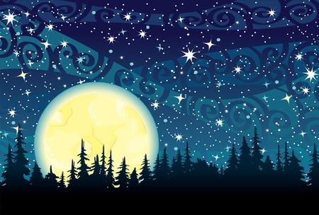 melkachtig: Vector nachtelijke hemel met sterren, gele maan en het bos