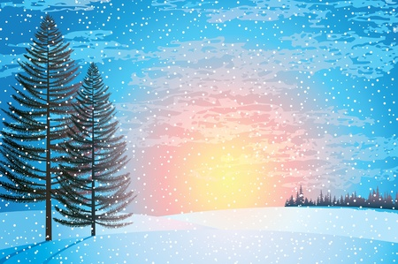 Sunset winter landscape with larchs, forest and snowfall Vector