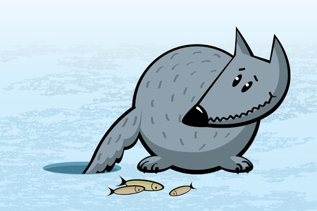 Cartoon funny gray wolf on ice fishing Vector
