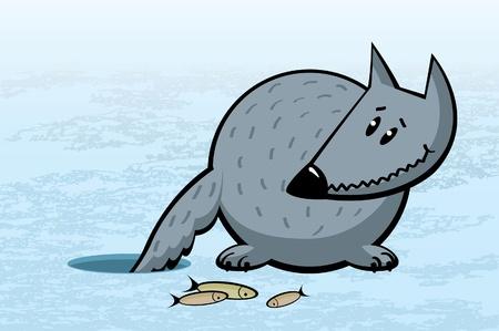 ice fishing: Historieta divertida del lobo gris en la pesca en el hielo