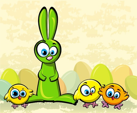 bunny rabbit: Funny green rabbit and tree yellow chickens