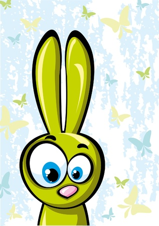 surprisingly: Funny green rabbit  Illustration