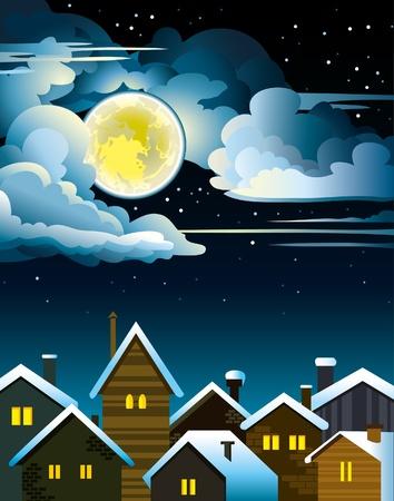 dark cloud: Casas de noche con ventanas iluminadas y la luna grande y amarilla sobre un cielo nublado oscuro