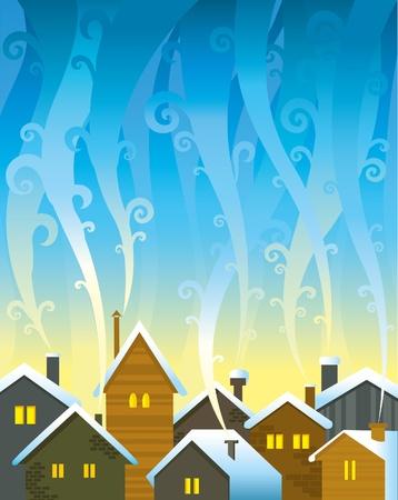 enfumaçado: Winter houses with lighted windows and smoky sky