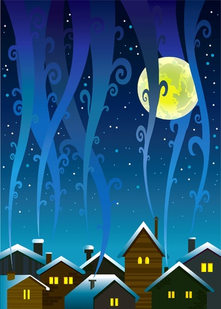 Winter houses with lighted windows and smoky sky Stock Vector - 12816924