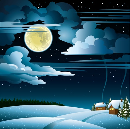 Paisaje de invierno con casas de nieve, el bosque y la luna la luz