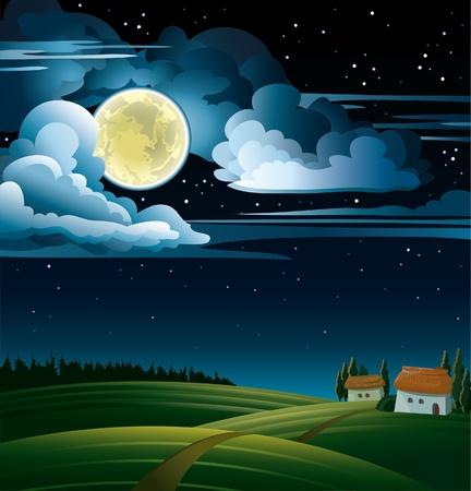 Noche de verano con luna llena y las estrellas en un cielo nublado Ilustración de vector