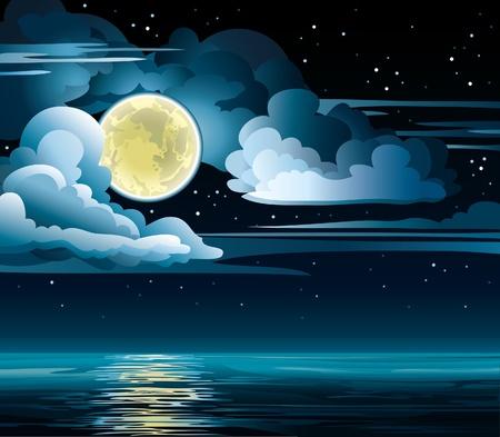 Vector nacht bewolkte hemel met sterren, gele maan en de kalme zee Vector Illustratie