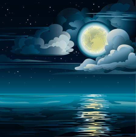 Vector nacht bewolkte hemel met gele maan, sterren en kalme zee