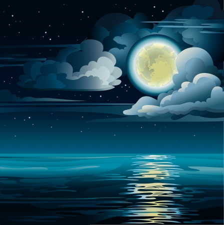 horizon reflection: Vector night cloudy sky with yellow moon, stars and calm sea