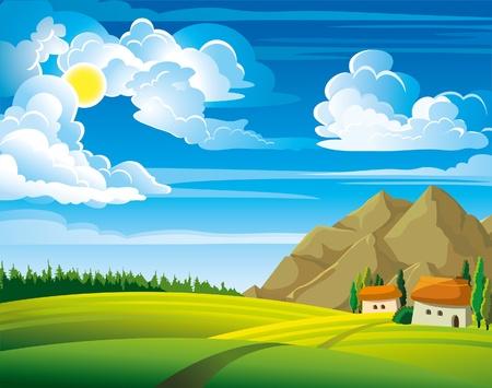 Letní zelená krajina se stromy a domy na modrém pozadí zamračená obloha