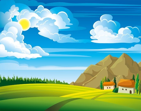 sunlit: Summer green landscape with trees and houses on a blue cloudy sky background