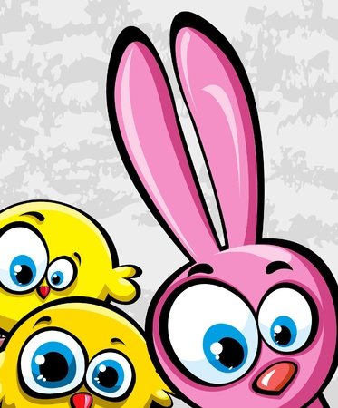 cute rabbit: Funny pink rabbit and yellow chickens