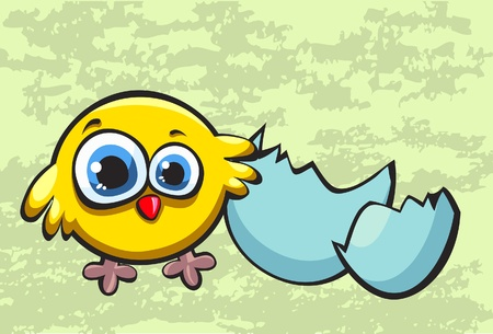 funny easter: Funny yellow chicken and broken egg Illustration