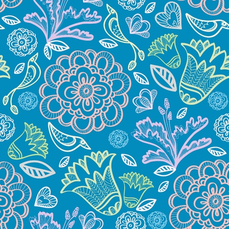 Floral pattern with birds on a blue background Vector
