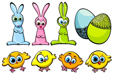 Set of three Easter bunnies, funny chicks and decorated eggs Illustration