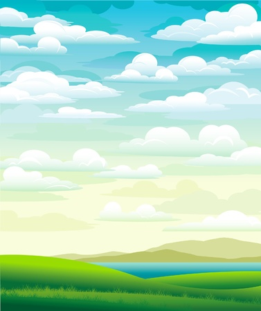 Summer landscape with green meadow and cloudy blue sky Vector