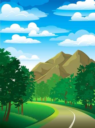 cartoon road: Summer green landscape with road, trees and mountain on a cloudy sky Illustration