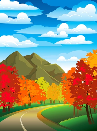 cloudy day: Autumn landscape with road, colorful trees and mountain on a blue cloudy sky