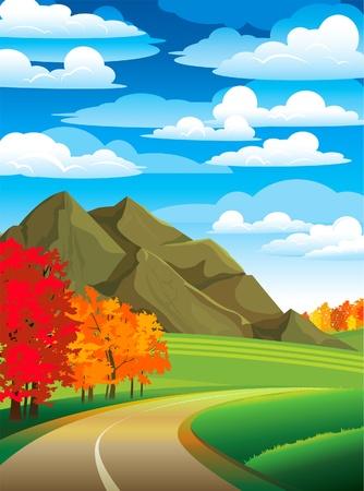 Paisaje de oto�o con la carretera, �rboles de colores y de monta�a en un cielo azul nublado