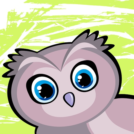 Cartoon funny owl with big blue eyes on a green background Vector