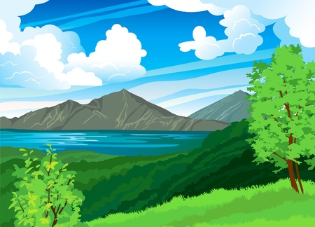 Summer landscape with volcano Batur, green forest and blue lake on a cloudy sky. Indonesia, Bali. Stock Vector - 13046079