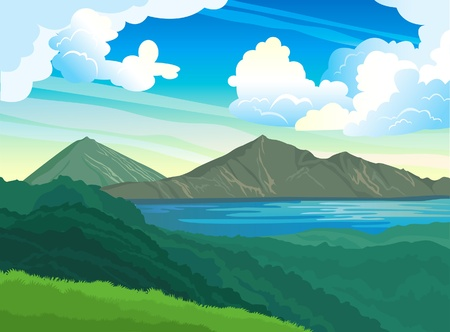 Summer landscape with mountains, green forest and blue lake on a cloudy sky Vector