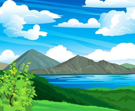 Paisaje de verano con el volcán Batur, verde bosque y el lago azul de un cielo nublado. Indonesia, Bali. Ilustración de vector