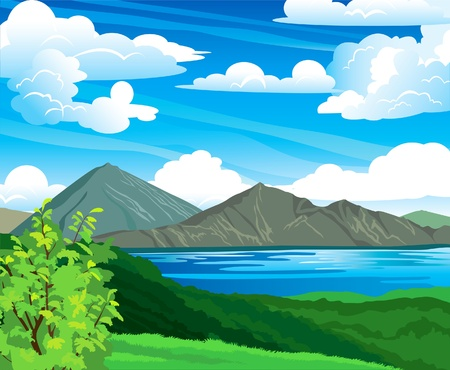 Summer landscape with volcano Batur, green forest and blue lake on a cloudy sky. Indonesia, Bali. Vector