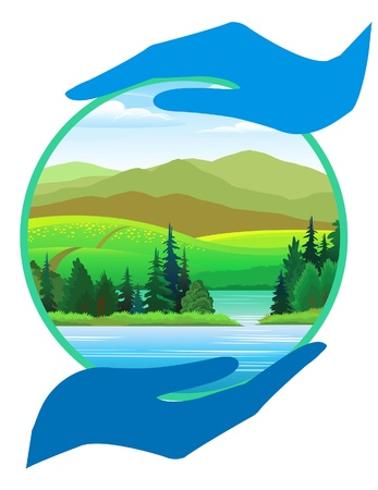 river rock: Pure verde della natura � nelle nostre mani Vettoriali