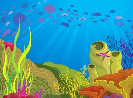 色のサンゴ礁と青い海の背景に魚のシルエットの学校 写真素材 - 13187091
