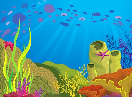 Colored coral reef and silhouette school of fish on blue sea background