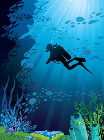 diving: Beautiful coral reef and silhouettes of diver and school of fish in a blue sea