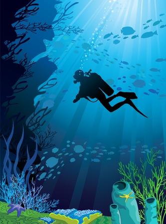 Hermosos arrecifes de coral y las siluetas de buzo y de peces en un mar azul
