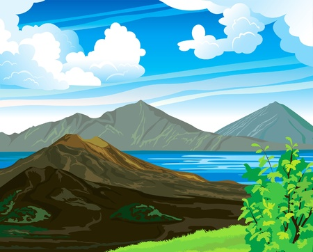 Summer landscape with volcano Batur and blue lake on a cloudy sky. Indonesia, Bali. Illustration
