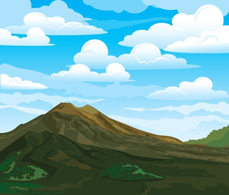 Summer landscape with volcano Batur on a cloudy sky. Indonesia, Bali. Illustration