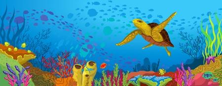 estrella de la vida: Arrecifes de coral de color con la escuela de la silueta de peces y tortugas de color amarillo sobre fondo azul del mar
