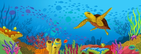 coral reef: Colored coral reef with silhouette school of fish and yellow turtle on blue sea background
