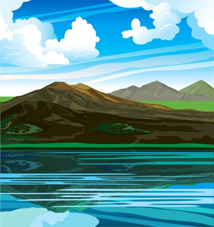 Zomer landschap met bergketen en schoon meer op een bewolkte blauwe hemel. Vector Illustratie