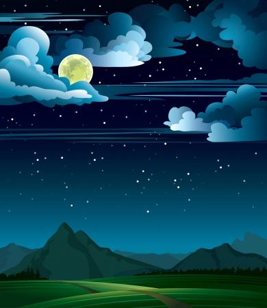 himmelsblå: Sommarnatt med fullmåne och berg på en stjärnhimmel