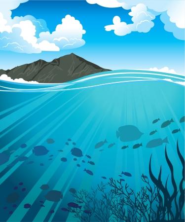 Las siluetas de los peces y los rayos del sol en un mar azul y las monta�as