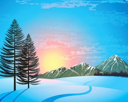 Sunset winter landscape with larchs, forest and mountains