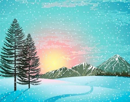 montañas nevadas: Puesta del sol Paisaje de invierno con alerces, bosques y montañas