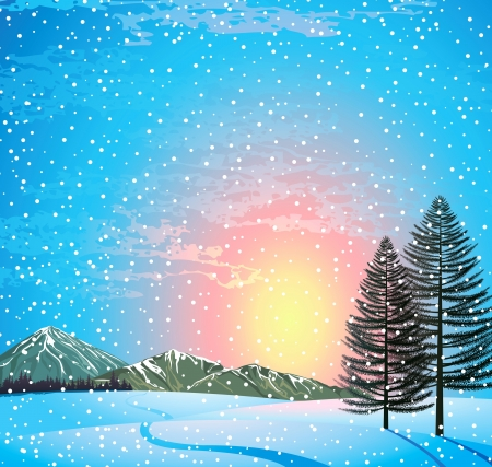 Sunset winter landscape with larchs, forest and mountains Vector