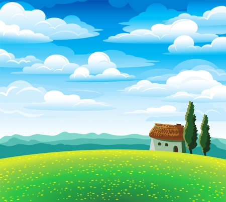 Green summer landscape with flourishing meadow, house and mountains on a blue cloudy sky Illustration
