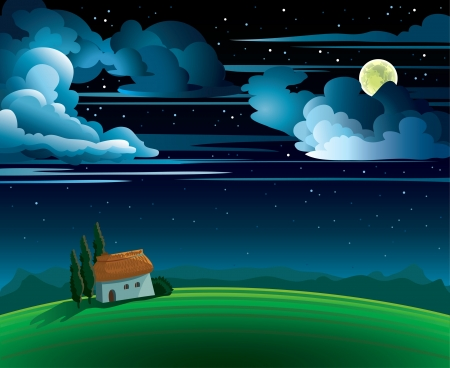 moon  light: Summer night with full moon and house on a cloudy sky Illustration