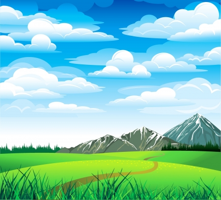 cornfield: Green summer landscape with meadow, forest and mountains on a blue cloudy sky