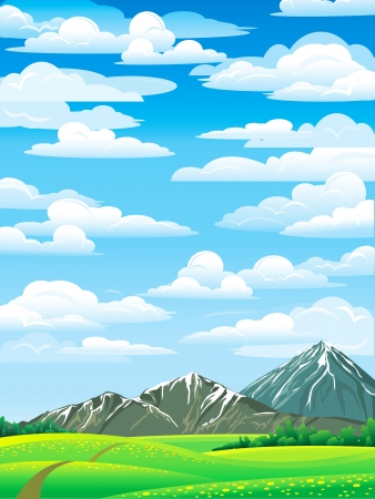 Green summer landscape with meadow, forest and mountains on a blue cloudy sky  Vector
