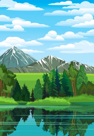 Summer landscape with green forest, river and mountains on a blue cloudy sky Stock Illustratie